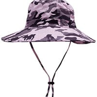 Reutry Summer Outdoors Wide Brim Camouflage Hats Cotton / Mesh (Pink)