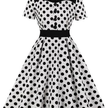 09dc3324dc3 Elegant Style 60s Dot Print Women Retro Dress Rockabilly Swing Vintage  Dress summer Audrey Hepburn Party