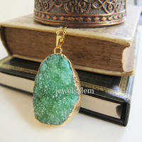 Emerald Green Druzy Necklace Geode Gemstone Crystal Quartz Agate Gold Jade Pine Lichen Layered Long Drusy Mineral Pendant Rustic Statement