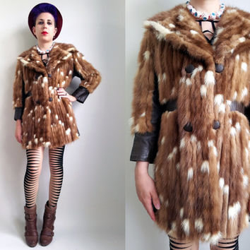 70s Clothes / 1970s Vintage Fur Coat Brown White Multicolor Fur Coat Grunge Coat Warm Winter Coat 70s Coat Funky Fur Coat Fur and Leather