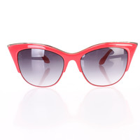 Red High Polish Tinted Cat Eyed Cute Summer Sunglasses