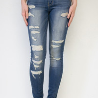 Destroyed Cuffed Rebel Skinny Jeans | Flying Monkey