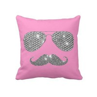 Funny Diamond Mustache With Glasses Pillow from Zazzle.com