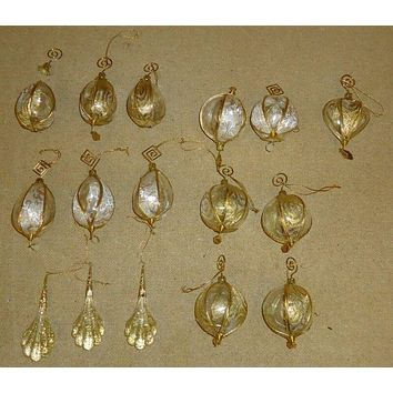 Designer Christmas Holiday Ornaments Gold Metal/Plastic Qty 11 -- Used