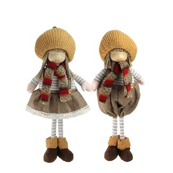 """2-Piece Set of Thanksgiving Autumn Standing Boy and Girl Gnomes with Pumpkin Hats 15"""""""