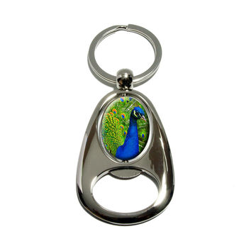 Peacock Feathers Spinning Oval Bottle Opener Keychain
