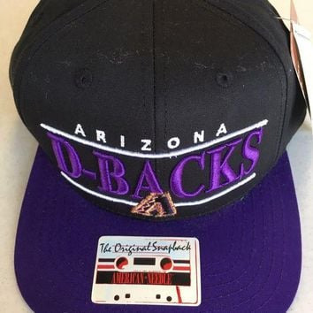 DCCKIHN AMERICAN NEEDLE ARIZONA DIAMONDBACKS RETRO BLACK & PURPLE FLAT BRIM SNAPBACK HAT
