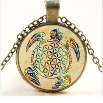 Sacred Geometry Flower of Life Turtle Necklace