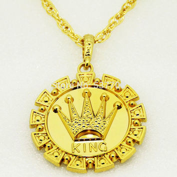 Gold KING Crown Necklace