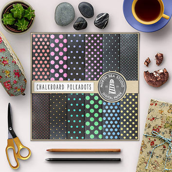 Chalkboard Polkadots Digital Paper Black Chalkboards Polkadot Pattern Chalkboard Background Gift Wrap 12x12 Scrapbooking Paper Colorful Dots