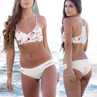 Floral Printed Hollow Bandage Knit Sexy Floral Printed Erotic Bikini Swim Suit Beach Bathing Suits Swimwear _ 12939