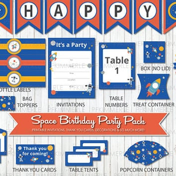Space Themed Birthday, Printable Party Pack, DIY, Banner, Invitation, Favors, Cupcake Toppers, Decorations, Astronaut, Planets, Solar System