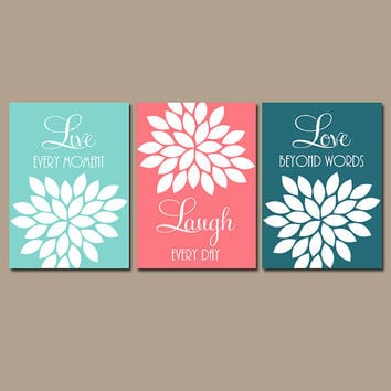 Coral Teal Aqua Wall Art CANVAS or Prints Live Laugh Love Baby Girl Nursery Artwork Girl Bedroom Wall Art Girl Nursery Pictures Set of 3