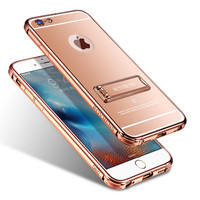 2016 Newest PU Leather Case For Iphone 6 6S Plus 5.5 Multifunction Stand Phone Cases Soft Silicone Rose Gold Cover Holster