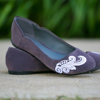 Ballet Flats - Charcoal Grey Flat with White Lace Design. US Size 5.5