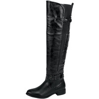 Womens Knee High Boots Elastic and Buckle Accent Casual Riding Shoes Black SZ