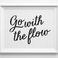 Inspirational Art, Go With The Flow Motivational Wall Decor, Typography Print, Best Friend Gift, Inspirational Quote Black Office Decor