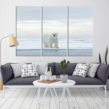 94574 - Large Wall Art Polar Bears Canvas Print - Framed - Ready to Hang
