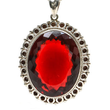 Red Mystic Topaz Pendant, Sterling Silver and Red Topaz Pendant Necklace, Red Gemstone Pendant Necklace, Red Mystic Topaz Necklace