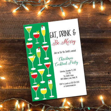 Printable Christmas Party invitation/ Christmas Cocktail Party invitation/ Holiday party invitation/ Christmas open house invitation