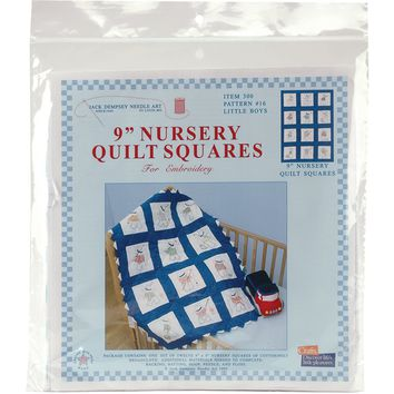 "Little Boys Jack Dempsey Stamped White Nursery Quilt Blocks 9""X9"" 12/pkg"