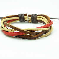 Leather Cotton Ropes Woven Men Leather Jewelry Bangle Cuff Bracelet Women Leather Bracelet  RZ0411