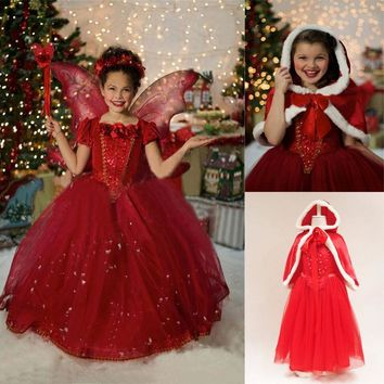 Fantasty Dress For Christmas Red Hooded Girls Clothing Children Kids Halloween Cosplay Cartoon Costume Baby Girl Dresses