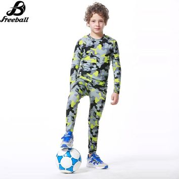 2017 Kids Camouflage Running Set Compression Underwear Fitness Gym Pants Survetement Football Basketball Training Sportwear Kit