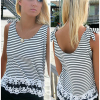 Seagulls & Sailboats Black & White Stripe Lace Hem Tank