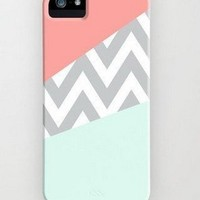 JIAXIUFEN Mint & Coral Chevron Rigid Back Cover Skin Protector Phone Case For Apple iPhone 4 4G 4S