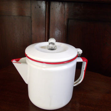 Vintage White Enamel with Red Trim Percolator Coffee Pot Complete