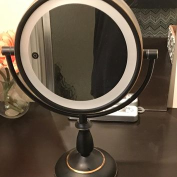 Ovente SmartTouch Cool, Warm, Daylight LED Lighted Mirror, Tabletop Vanity Mirror, 1x/7x Magnification, Battery Operated or AC adapter, 8.5 inch, Nickel Brushed (MPT85BR1x7x) HOLIDAY DEAL