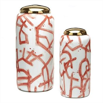 Coral Graffiti Porcelain Jar