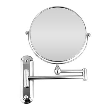 BTSKY™ Chrome Finish ,360 Degree, 12-Inch Extension, 8-inch Two-Sided Swivel Wall Mounted Mirror, Extending Folding Bathroom Shaving Cosmetic Make Up Mirror(10 x Magnification)