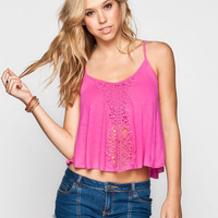 Full Tilt Crochet Front Womens Swing Tank Fuchsia  In Sizes