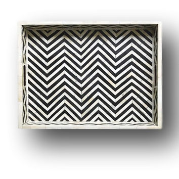 Bone Inlay Furniture - Black Striped Chevron Modern Decorative Tray | Free Shipping