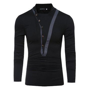 2018 New Stylish Men's Oblique Button Collar Long-sleeved T-shirt