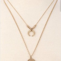 Make a Wish Double Chain Coin Necklace