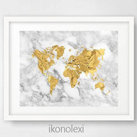 Gold World Map Poster, Gold World Map Art, Gold World Map Print, Gold Map World, Download, World Map Gold, Gold Marble, Housewarming Gift