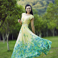 Chiffon Long Green Yellow Floral Sundress Party Dress Evening Wedding Sundress Summer Holiday Beach Dress Bridesmaid Dress Maxi Skirt YM62
