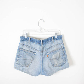 1970s Levi's Shorts / High Waisted Shorts Destroyed Denim Shorts Light Blue Jean Shorts Frayed Denim Shorts Bohemian Clothing Hippie Shorts