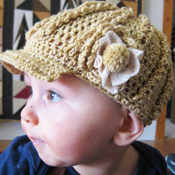 Crochet Pattern - Brim and Cables Baby Hat (0-3, 3-6, 6-12 month)