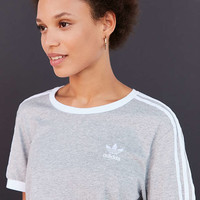 adidas Originals Heathered 3-Stripe Ringer Tee - Urban Outfitters
