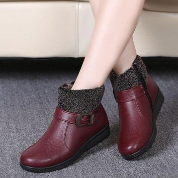 Women Winter Boots Female Zip Ankle Boots Waterproof Warm Snow Boots Ladies Leather Sh