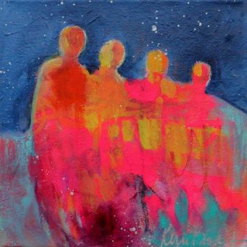 "Colorful Abstract Figures on Canvas, Bold Acrylic Painting on Canvas, Small ""Sway"" 12x12"""