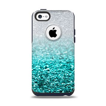 The Aqua Blue & Silver Glimmer Fade Apple iPhone 5c Otterbox Commuter Case Skin Set