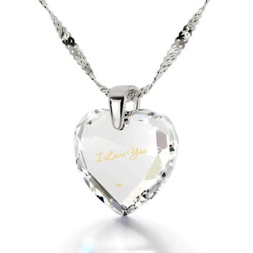 """I Love You"", 14k White Gold Necklace, Cubic Zirconia"