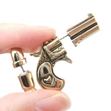 Fake Gauge Earrings: Gun Pistol and Bullet Shaped Faux Plug Stud Earrings in Shiny Gold