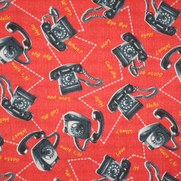 SPECIAL--Black on Red Retro Telephone Print Pure Cotton Fabric--One Yard
