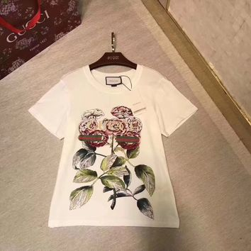 """""""Gucci"""" Women Casual Fashion Rose Flower Letter Print Short Sleeve Loose Round Neck T-shirt Tops"""